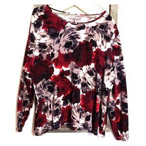 3/4 Sleeve Red, Black & White Print Blouse